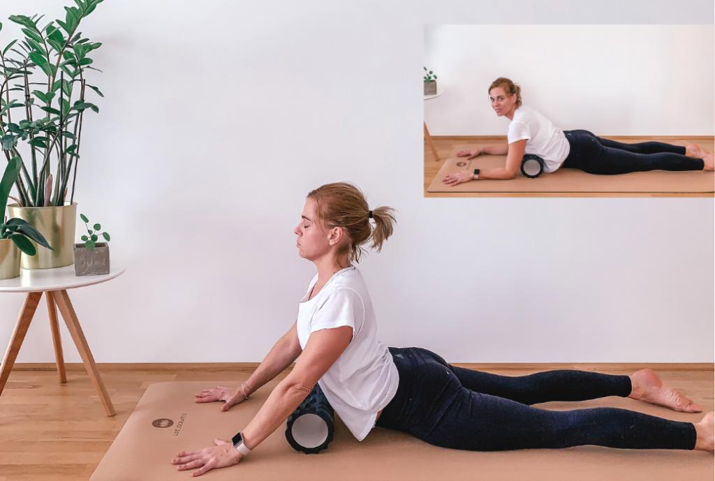 Faszienrolle Herzöffnung Yoga Kobra Herz